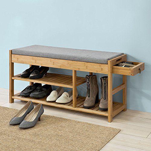 SoBuy® Schuhbank mit Sitzkissen und Schublade,Sitzbank Schuhregal,bambus,FSR47-N #schuhaufbewahrung