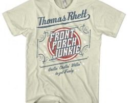 Officially licensed Thomas Rhett t-shirt featuring a Front Porch Junkie print on the front of the shirt. 100% cotton men's standard fit t-shirt. Natural white.