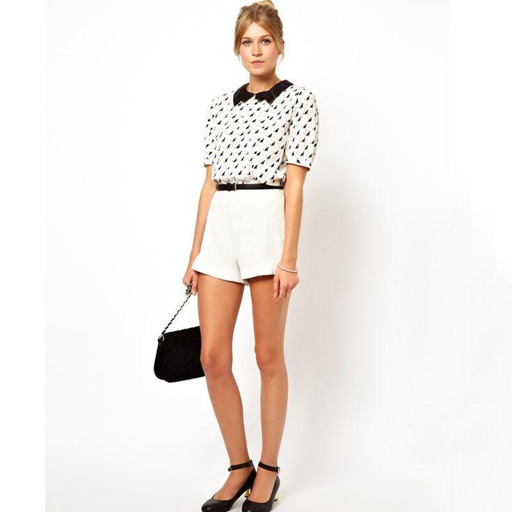 01F1026 Summer Fashion Ladies' sweet black cat print white blouses elegant  peter pan collar short