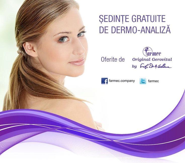 În perioada 18-21 iulie 2013, în Promenada Mall Sibiu, te aşteptăm în magazinul Kendra Beauty pentru o şedinţă de dermo-analiză şi sfaturi personalizate!  Vei afla ce tip de piele ai şi care sunt cele mai potrivite produse pentru sănătatea şi frumuseţea tenului tău.  Detalii aici: http://www.farmec.ro/produse/in-magazine/sedinte-gratuite-de-dermo-analiza--eid1010.html