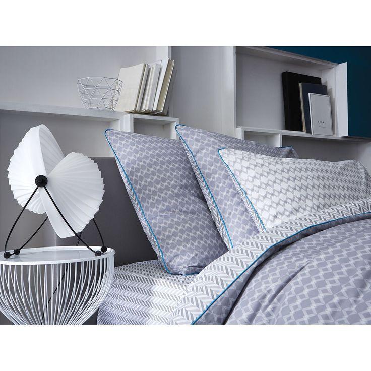 drap housse bonnet 30cm percale 80 fils cm gris et blanc imprim. Black Bedroom Furniture Sets. Home Design Ideas
