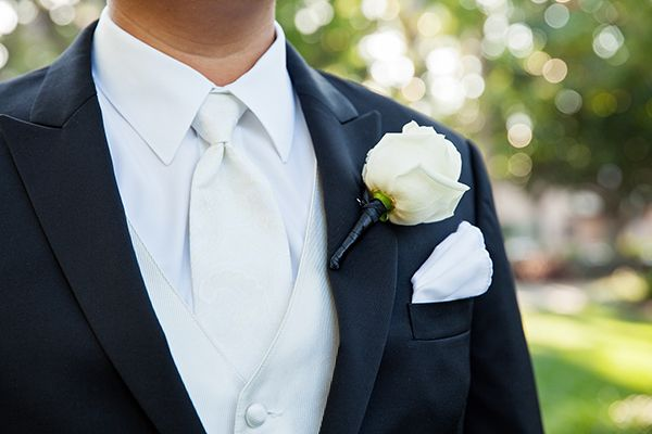 Classic white rose groom boutonniere
