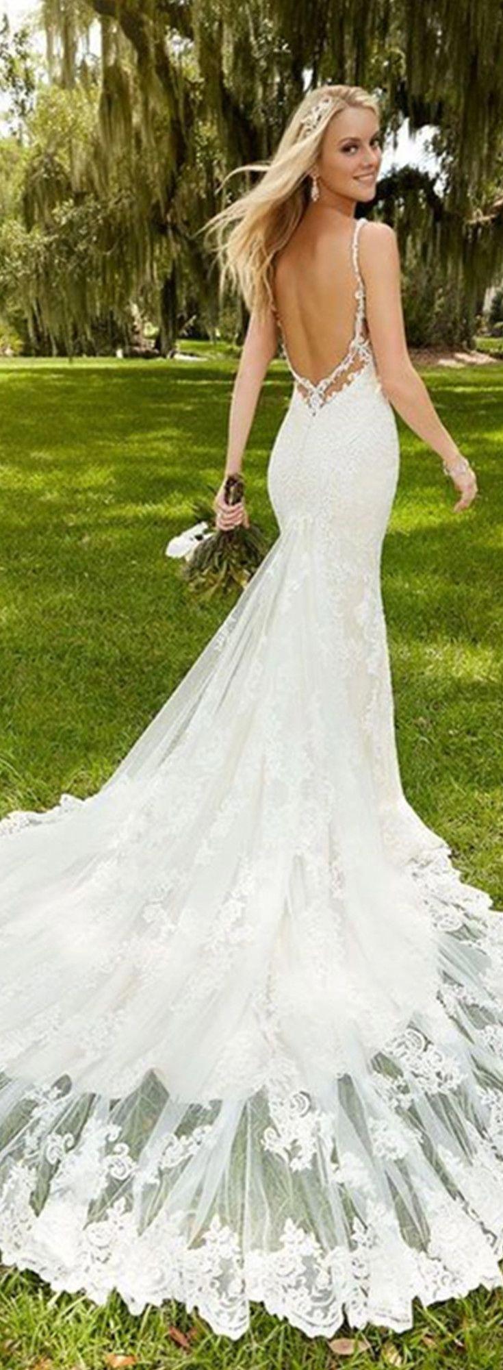 SPAGHETTI STRAPS LONG TAIL SEXY LOW BACK MERMAID LACE WEDDING DRESS #beachweddingdresses