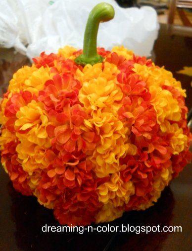 dreamingincolor: Flower Covered Pumpkins
