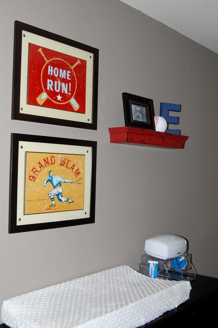 red navy nursery...cute red shelf: Baby Boy Baseball Nursery, Red, Boy Baseball Room, Boys Baseball Bedroom, Boys Baseball Room, Baseball Boys Room, Baby Room, Navy, Baseball Rooms