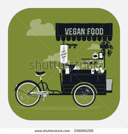Creative vector detailed web icon on vegan food with retro looking vending bicycle cart with awning, refreshments, bowls, bottles, wooden crate on rear rack and more | Mobile cafe illustration