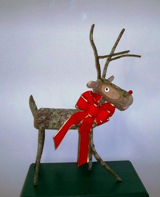 Wooden reindeer made from logs google search holidays for Christmas craft shows in delaware