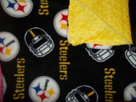Steelers infant blanket.. Minky dot on one side, and fleece steelers fabric