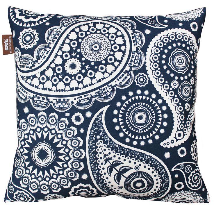Paisley Crescent Cushion - Indigo