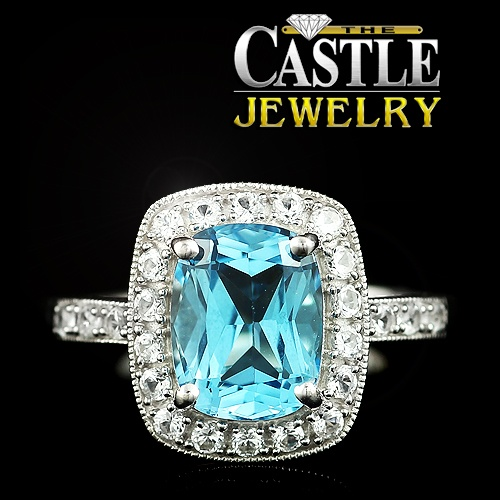 Rectangle Cut Blue Topaz and Cubic Zirconium Halo Ring in 14k White Gold