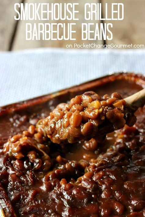Smoke Grilled Barbecue Beans | Recipe on http://PocketChangeGourmet.com