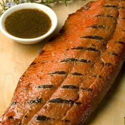 A simple soy sauce and brown sugar marinade, with hints of lemon and garlic, are the perfect salty-sweet complement to rich salmon fillets.: Perfect Salty Sweet, Brown Sugar, Rich Salmon, Sugar Marinades, Soy Sauces, Simple Soy, Salmon Fillet, Salmon Marinades, Grilled Salmon Recipes