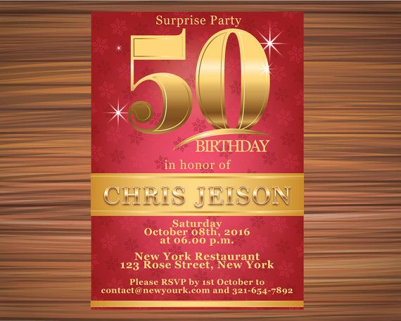 GOLD and RED INVITATION Surprise 50th by UniqueGoldenCards on Etsy