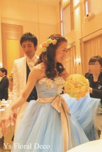 アニヴェルセル豊洲挙式の新婦さんへ  水色のドレスに優しいトーンの黄色オレンジのブーケ