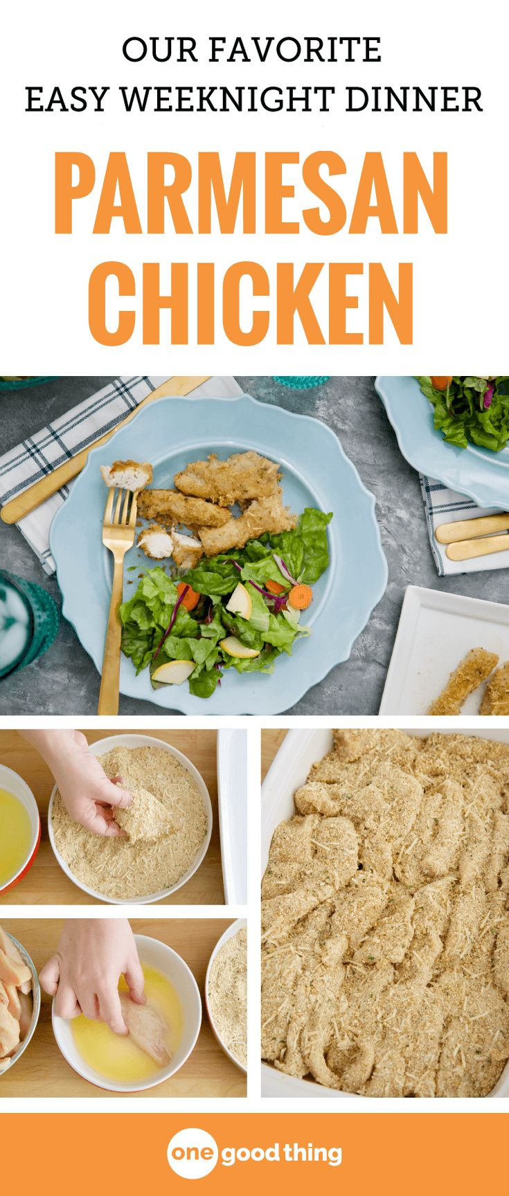 This Parmesan chicken is one of my go-to recipes when I need to get something on the table FAST! It's juicy, crispy, buttery, and a total crowd-pleaser. Even my pickiest eaters request it regularly!
