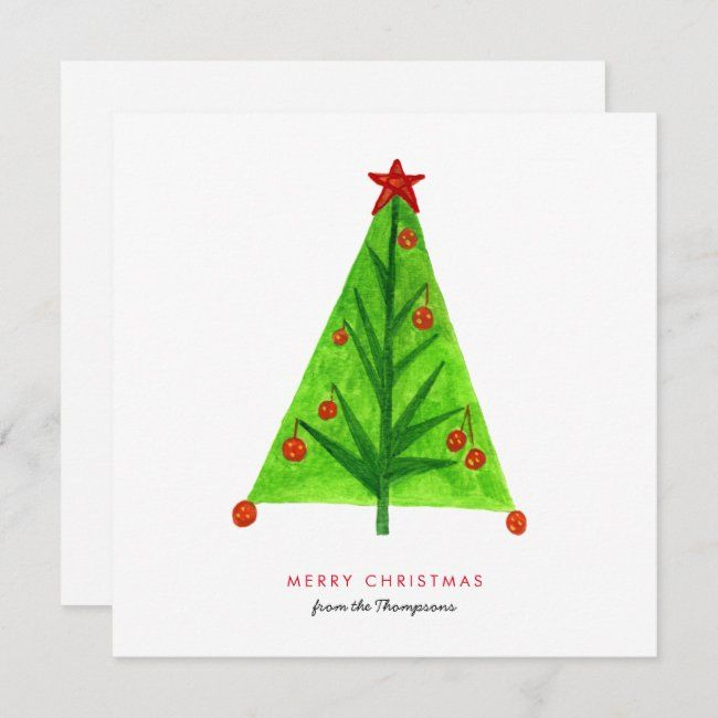 Contemporary Christmas Cards 2020 Artsy Christmas Tree Contemporary Style Holiday Card | Zazzle.