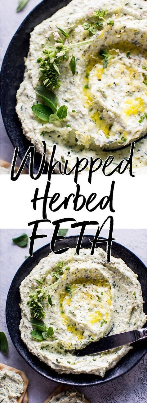 Whipped feta with fresh herbs is a quick and easy spread that is great for appetizers, snacks, or sandwiches.
