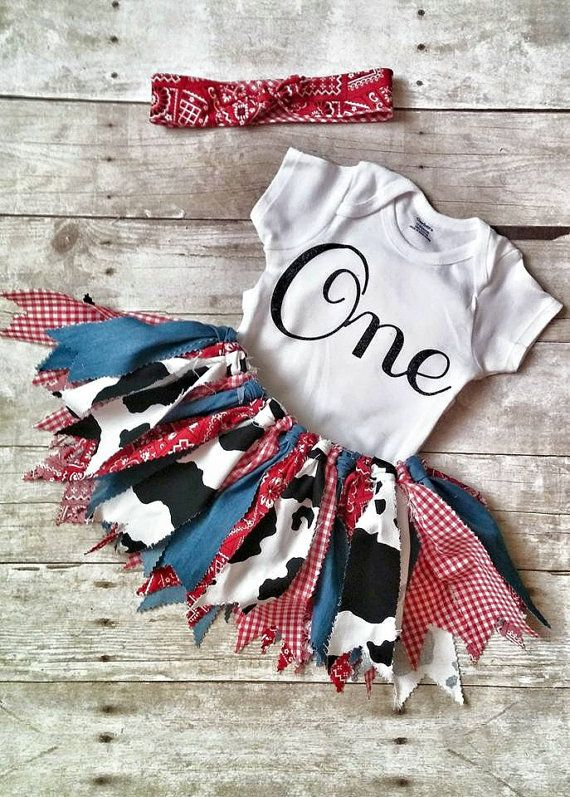 Barnyard Birthday Outfit Girl First Birthday by LottieLulaDesigns