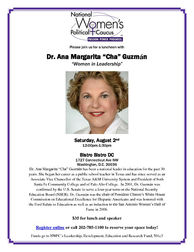"""In D.C.? Join us this Saturday, 8/2/14, to hear from national leader in education Dr. Ana Margarita """"Cha"""" Guzman!"""