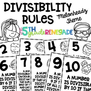 Divisibility Rules Posters Melonheadz Theme ~Black & White