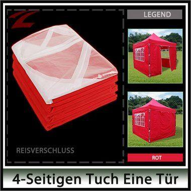 Pavillon Seitenteile 3 x 3, aus Polyester (160g/m²), wasserdicht, witterungsbeständig und strapazierfähig, 3x3-4RE Rot