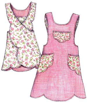 Scalloped Apron Pattern-Paisley Pincushion, apron pattern, apron patterns, vintage, retro, aprons, scalloped apron, scallop,