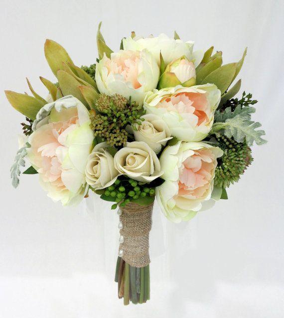 Peony Bridal Bouquet Peach Peonies with by UnrealWeddingFlowers