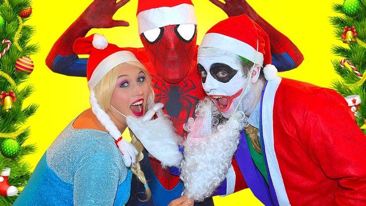 Bad Santa Joker Freak vs Frozen Elsa and Spiderman Attacks Santa Claus F...