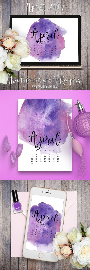 April 2017 free calendar and wallpapers - hand painted watercolor designs