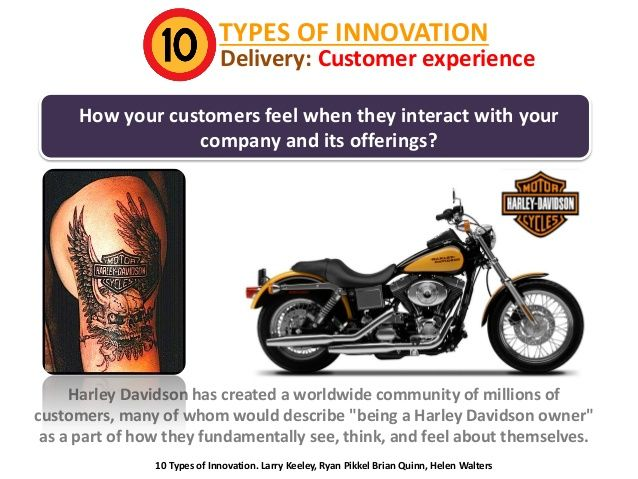 TYPES OF INNOVATION  Delivery: Customer experience  How your customers feel when they interact with your company and its o...