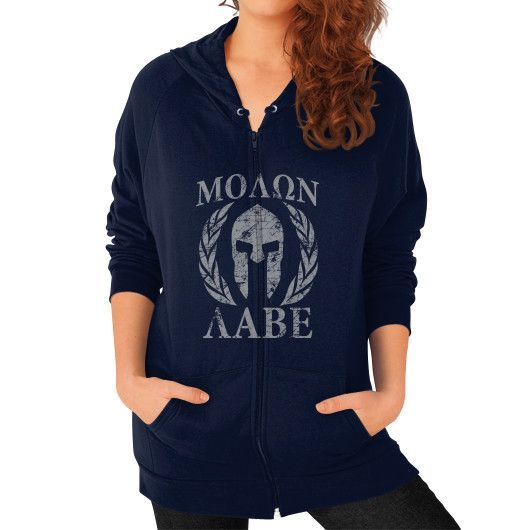 Molon Labe Spartan Trojan Helmet Laurels Zip Hoodie (on woman)