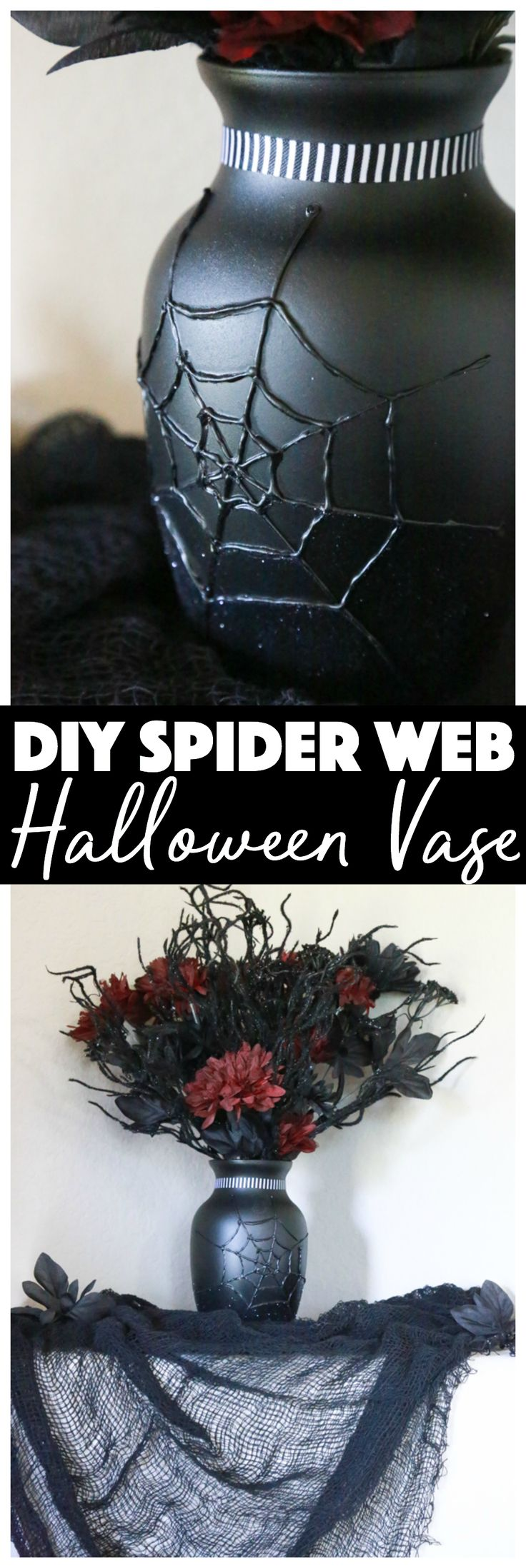 See how I transformed a $1 dollar store vase into a eerily beautiful DIY Spider Web Halloween Vase. via @simplymommy