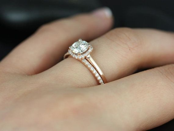 Petite Size Bella & Dia Barra 14kt  FB Moissanite and Diamond Cushion Halo Plain Band Wedding Set (Other metals and stone options available)