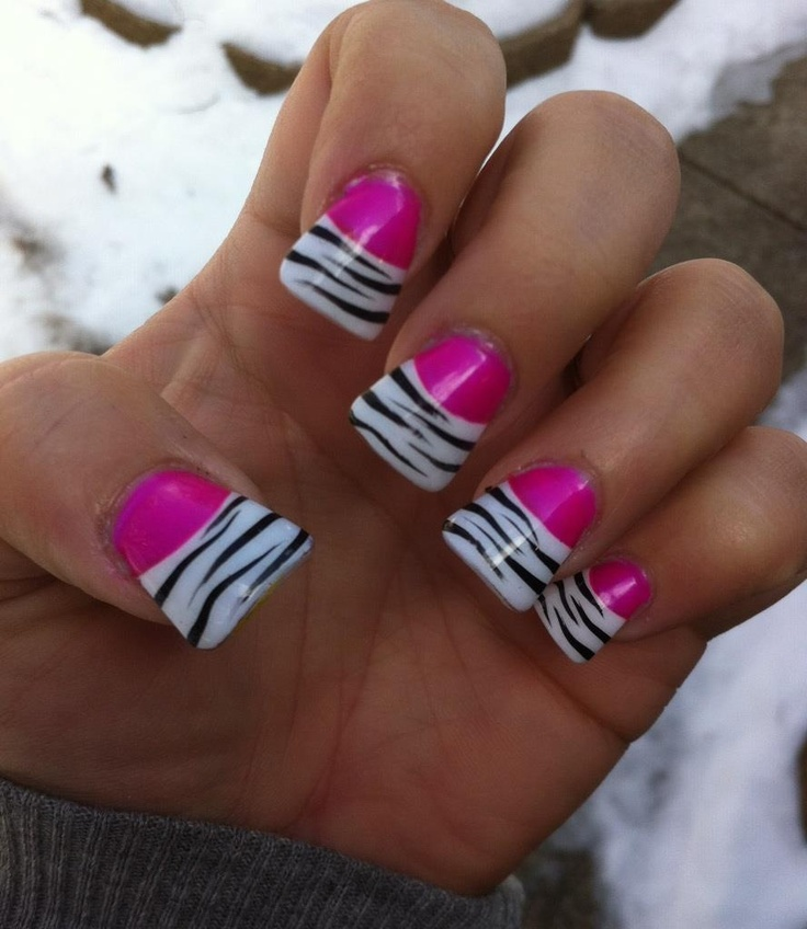 Hot pink zebra flare nails