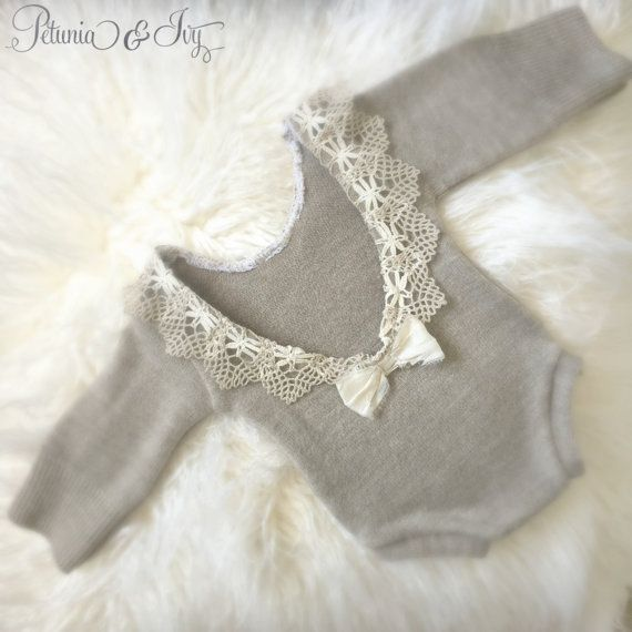 Newborn Earthy Brown Lace Romper baby girl by PetuniaandIvy