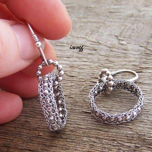 #silverwire #earrings #koronki #crochet