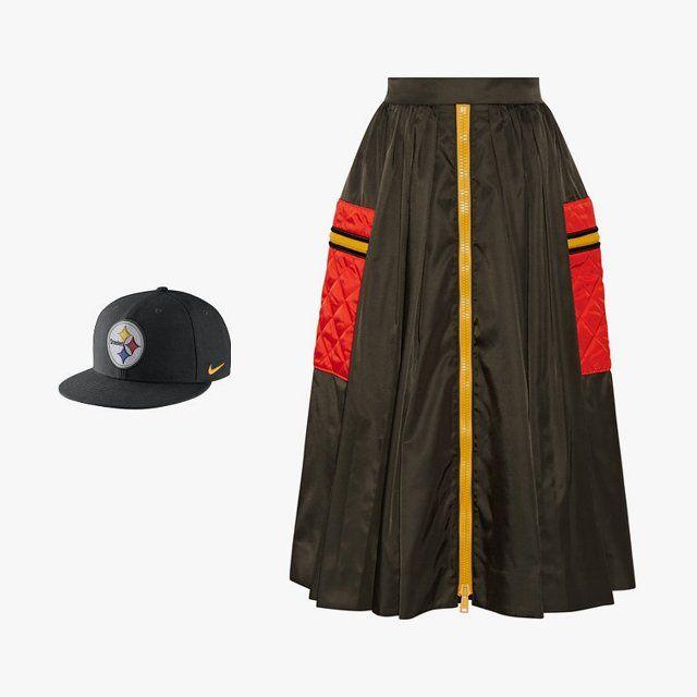 Nike color rush NFL Steelers adjustable hat, $26, for information: nike.com;Prada gabardine midi skirt, $823,net-a-porter.com