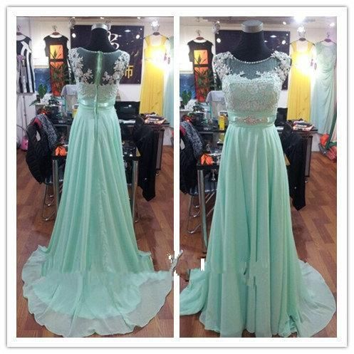 Real Image Beautiful Mint Lace Chiffon Long Bridesmaid Dresses Scoop Floor Length Full Back Cap Sleeve Prom Dresses With Beaded Evening Gown Bridesmaid Dresses Red Bridesmaids Gowns From Ebelz005, $103.52| Dhgate.Com
