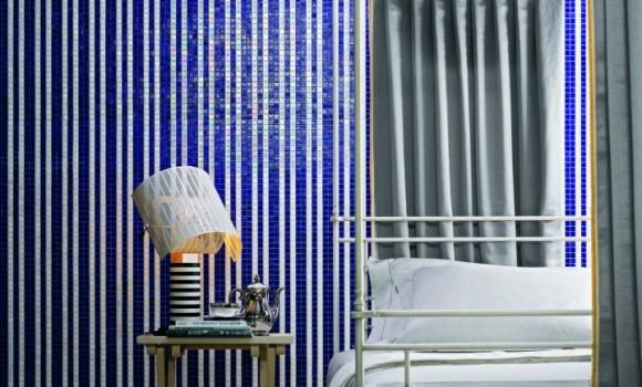 Bisazza Blue and White Striped Feature Tile
