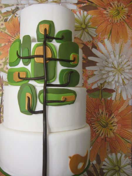 Modern Bird & Tree Green & Brown Wedding Cake