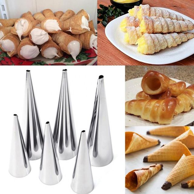3 unids/set croissants espiral tubos de acero inoxidable molde de pastel horneado diy cuerno para conos de cuernos de crema de chocolate de postre de pastelería