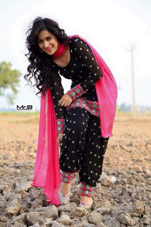 beautiful #Patiala Suit in black and hot pink