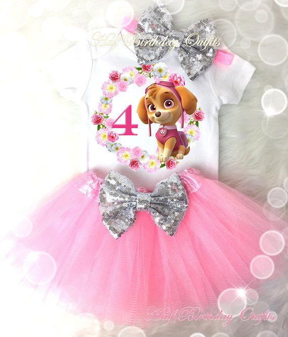Skye Puppy Birthday Tutu Outfit Birthday Dress Up Custom Any Name and Age Added