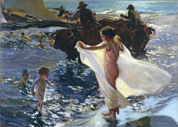 """joaquín sorolla y bastida - """"bathing time"""", 1904, oil on canvas."""