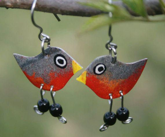 Robin Earrings handpainted fun earrings by #CinkyLinky. Enjoy more cheerful jewelry in our little Etsy shop.