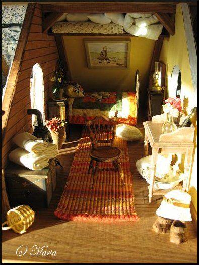 Such a cute attick room! (Dollhouse Väinölä by Maria Malmström)