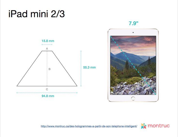 Mesures pour construire un projecteur d'hologramme 3D avec un boîtier de CD sur iPad mini 2 / iPad mini 3 A= 15.8mm |  B= 55.3mm |  C= 94.8mm