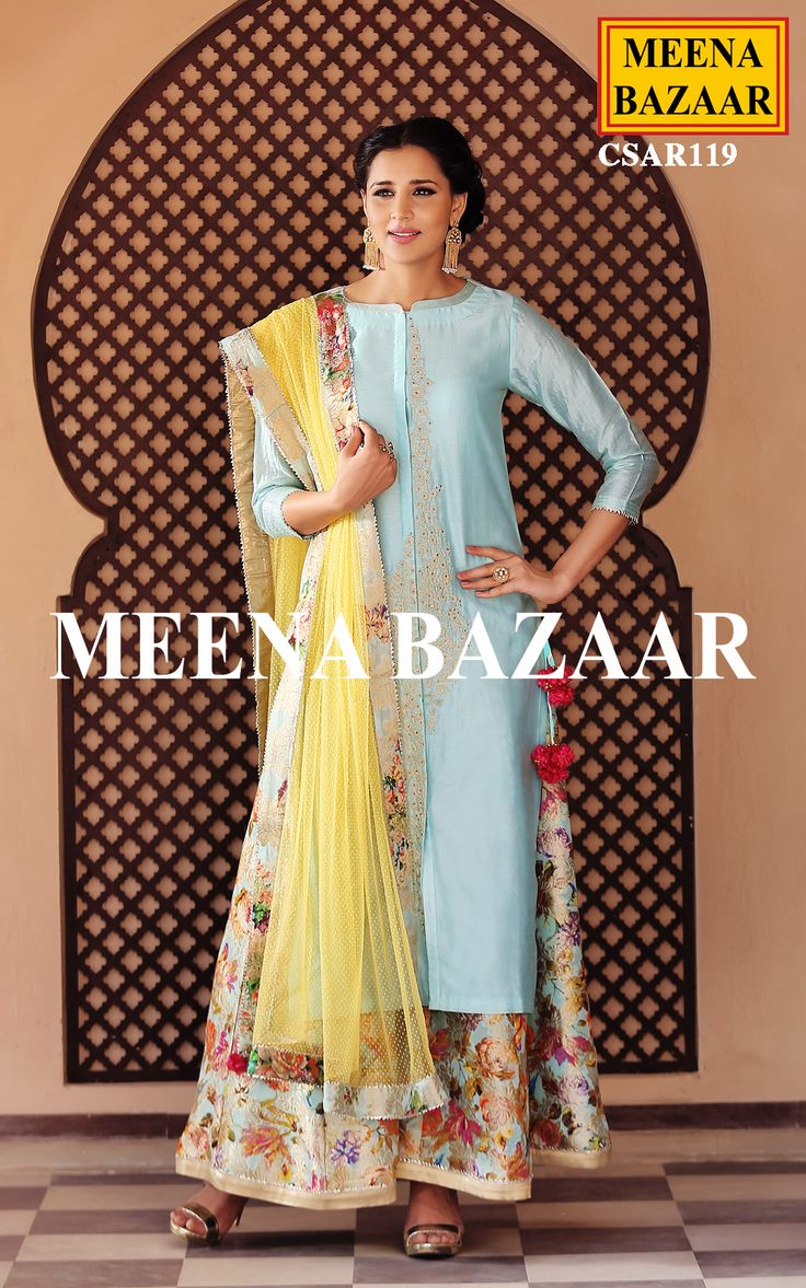 Discover a smashing Influence with this Blue chanderi sharara suit. Embellished with zari and thread embroidery,over neckline. This classic attire comes with net dupatta and brocade border and brocade sharara.