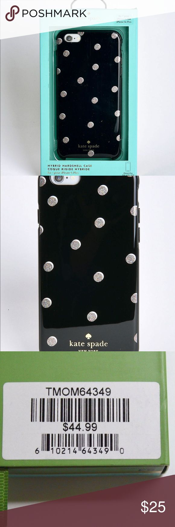 Authentic Kate Spade iPhone Hard Shell Case SALE Authentic Kate Spade Hybrid Hardshell Case  For: iPhone 6 Plus/6s - Trendy, durable, phone protection - Glossy finish, glitter black, rose gold, polka dots - New in retail package, with tag  - Feel free to ask any questions about my listings or  make a reasonable offer close to my selling price! kate spade Accessories Phone Cases