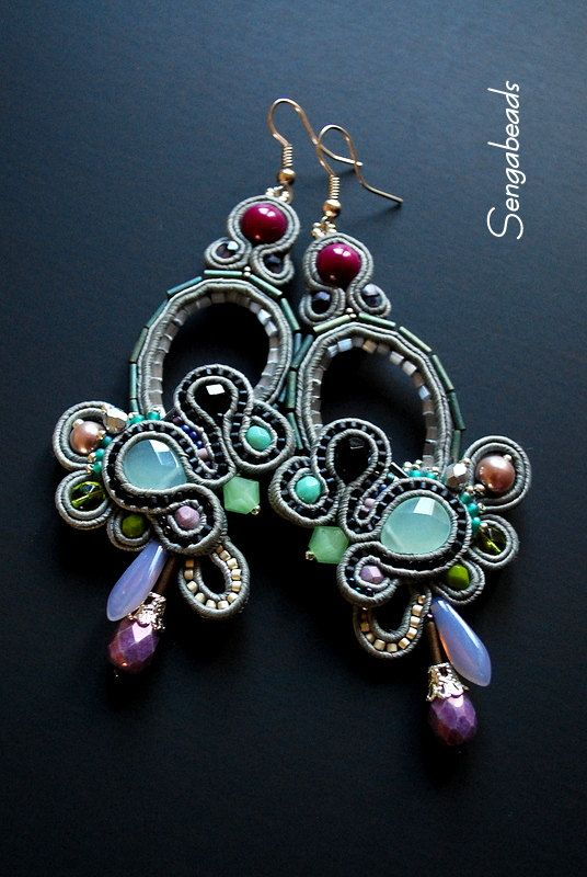 Soutache earrings made to order soutache jewelry by Sengabeads